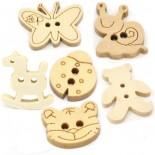 Botão de animais de madeira