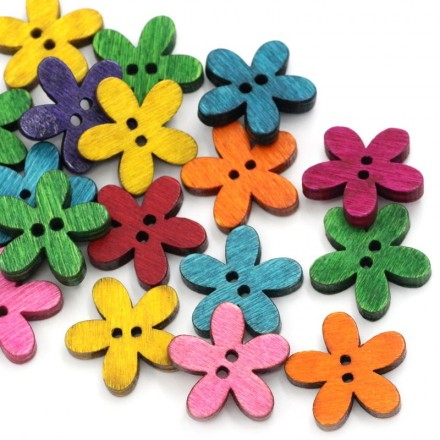 Bouton en bois fleurs de couleurs